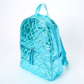 Metallic Quilted Heart Medium Backpack - Blue,