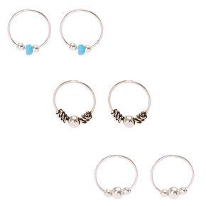 Sterling Silver Turquoise Hoop Earrings - 3 Pack,
