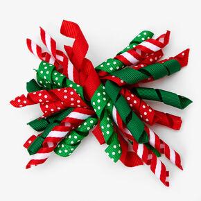 Curly Ribbon Holiday Hair Bow Clip,