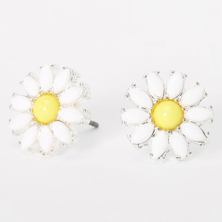 Silver Daisies with Fused Glass Center Earrings Gift for Women
