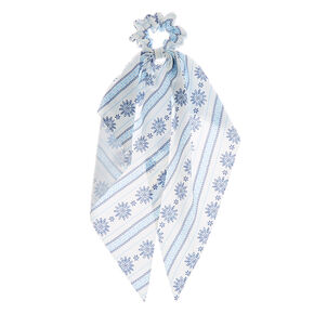 Small Prairie Hair Scrunchie Scarf - White,