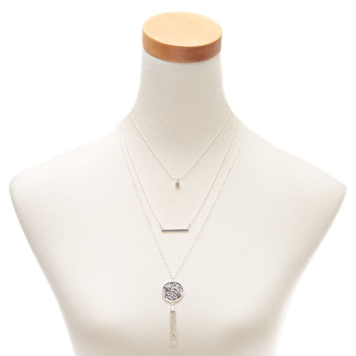 Silver Snakeskin Multi Strand Necklace,