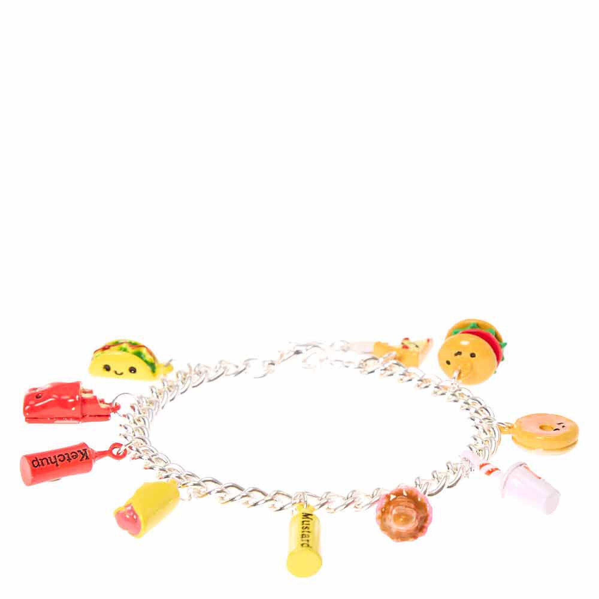 Junk Food Silver Tone Charm Bracelet