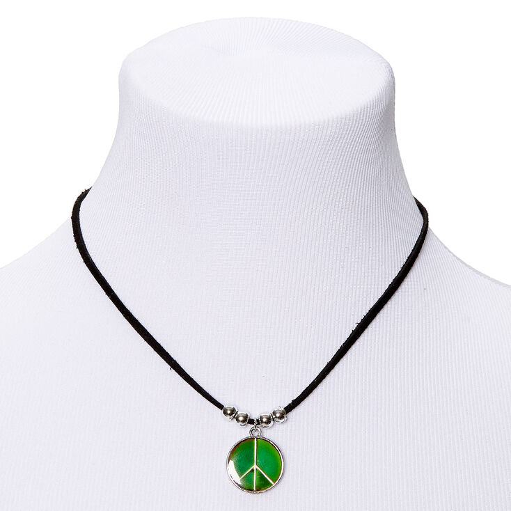 Peace Sign Mood Pendant Necklace,