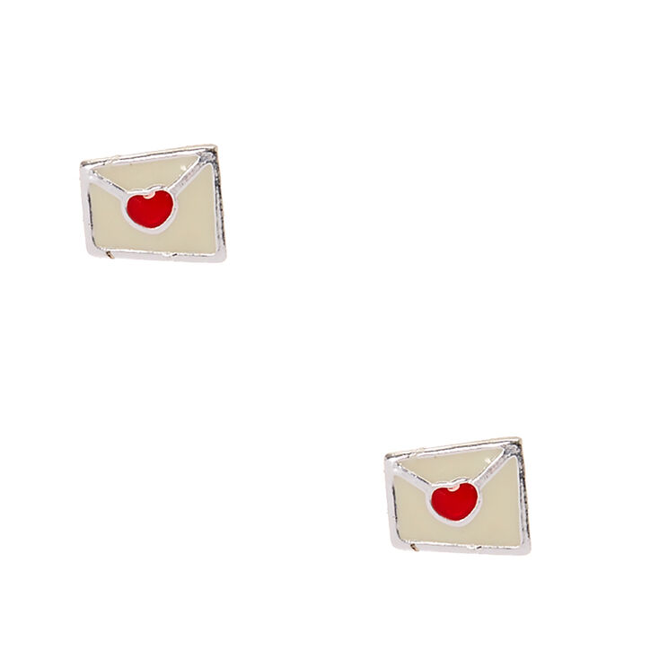 3bb74c8c2 Sterling Silver Love Letter Stud Earrings | Claire's US