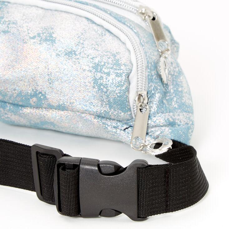 Holographic Denim Bum Bag - Blue,