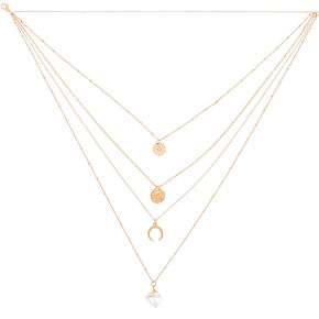 Gold Healing Crystal Moon Multi Strand Necklace,