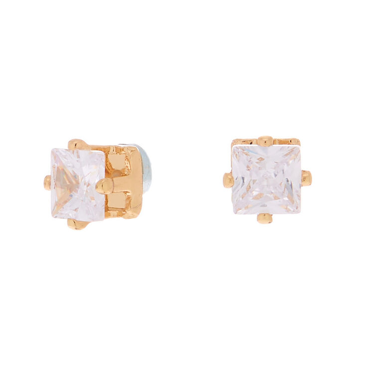 Gold Cubic Zirconia Square Magnetic Stud Earrings - 5MM,