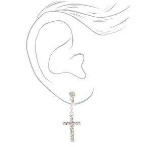 Clous d'oreilles à clip à croix ornementées couleur argentée,