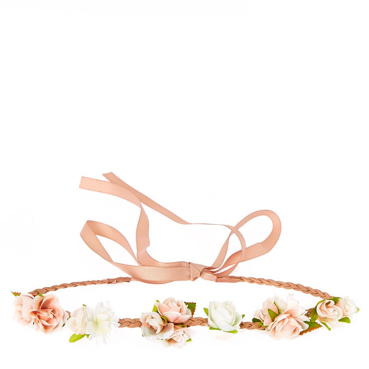 Blush & White Flower Cluster Braided Nude Faux Suede Headwrap,