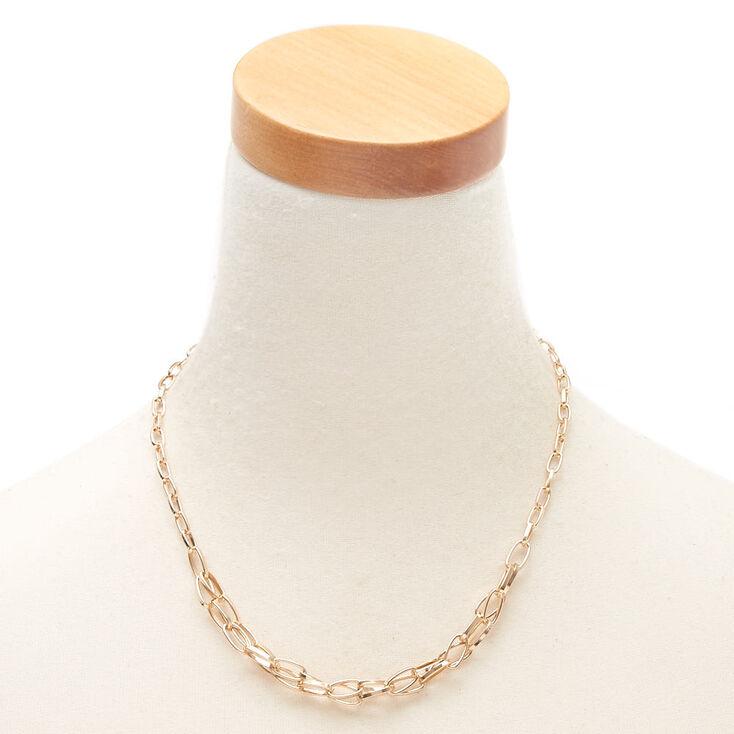 Collier volumineux double maillon de chaîne couleur doré,