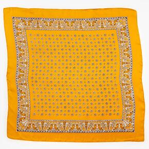 Floral Paisley Silky Bandana Headwrap - Mustard,