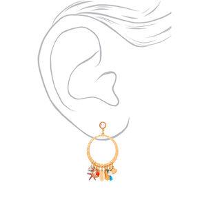 """Gold 2.5"""" Shell Drop Earrings,"""