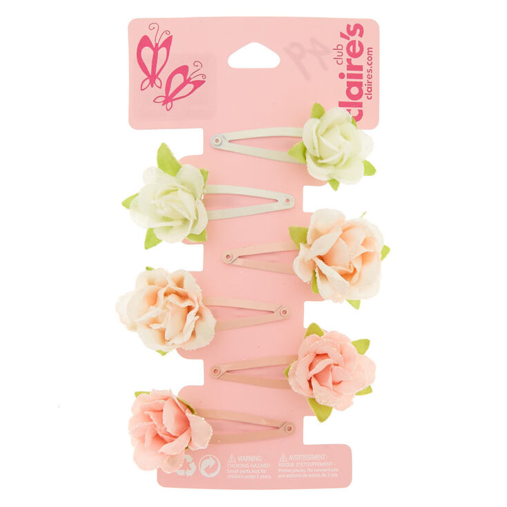 Kids 6 Pack Floral Hair Snap Clips