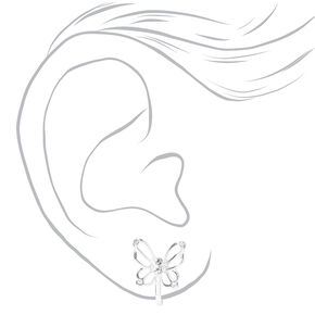 Clous d'oreilles à clip papillon ajourés ornementés couleur argentée,