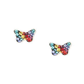 Sterling Silver Rainbow Crystal Butterfly Stud Earrings,