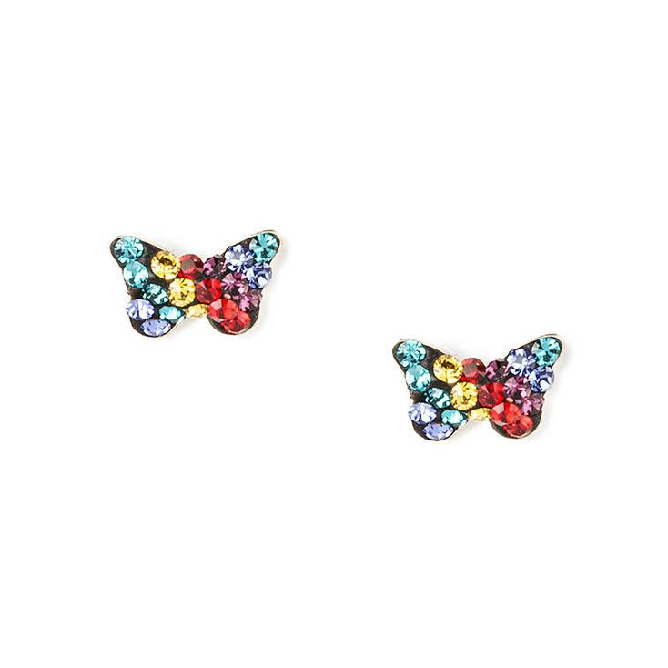 Sterling Silver Rainbow Crystal Butterfly Stud Earrings,