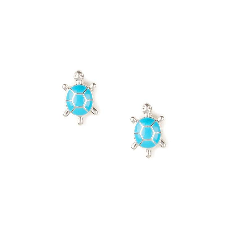 Silver Enamel Turtle Stud Earrings - Turquoise,