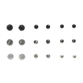Black Round Stud Earrings - 9 Pack,