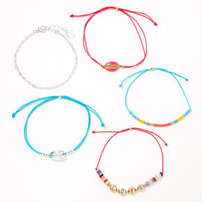 Rainbow Love Cowrie Shell Adjustable Bracelets - 5 Pack,