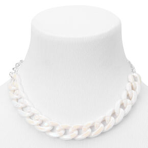 Silver Pearlized Chunky Curb Chain Necklace,