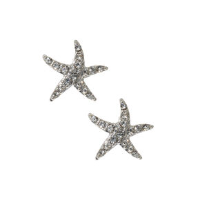 Silver and Crystals Starfish Stud Earrings,