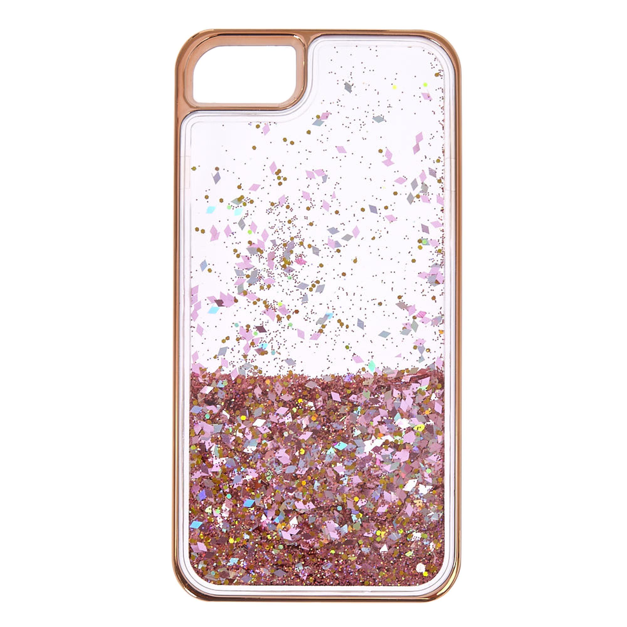 Rose Gold Tone Liquid Filled Glitter Phone Case Claire S Ca