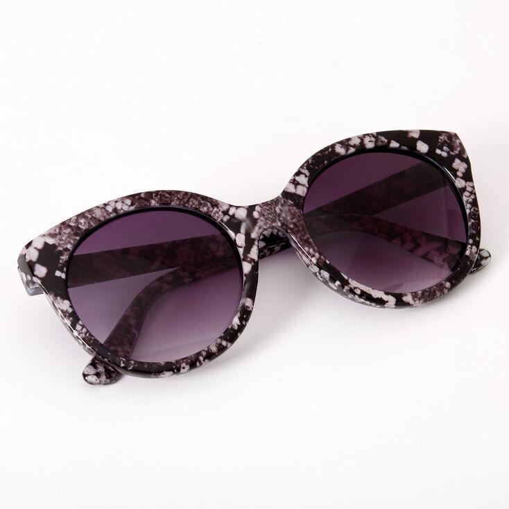 Chic Snakeskin Round Sunglasses - Black,