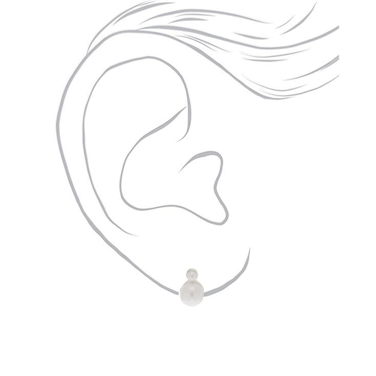 Clous d'oreille double perle d'imitation couleur argenté,
