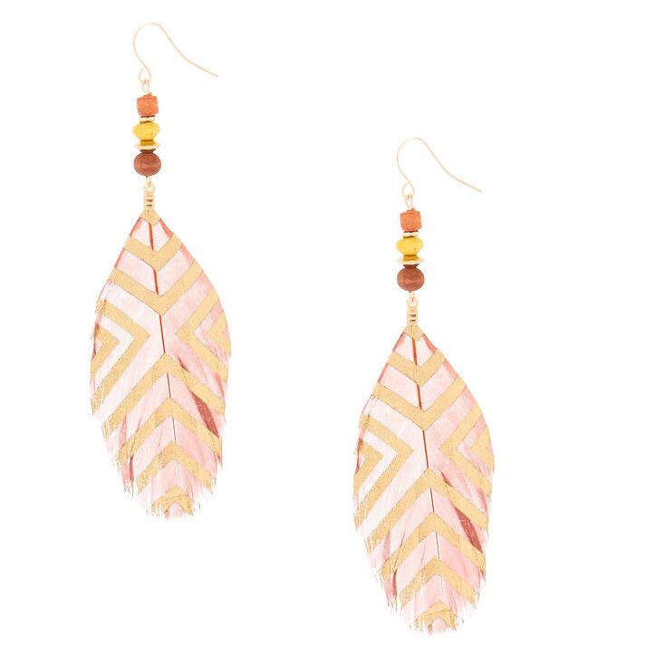Pendantes perlées à plumes marron 10cm,
