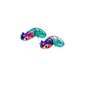 Boucles d'oreille caméléon inversées arc-en-ciel métallique.,