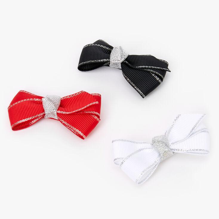 Claire's Club Christmas Hair Bow Clip Trio - 3 Pack,