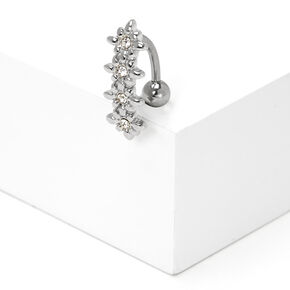 Silver 14G Embellished Flower Top Down Belly Ring,