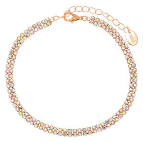 860a53432a2 Rose Gold Iridescent Stoned Anklet