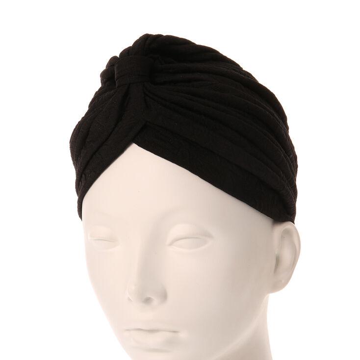 Turban noir texturé,