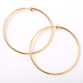 Gold 60MM Clip On Hoop Earrings,