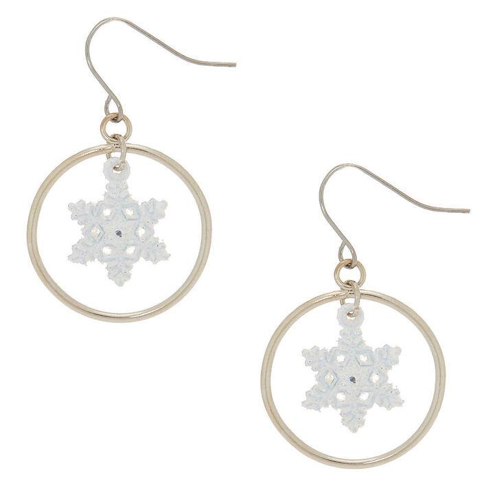 """1"""" Snowflake Hoop Drop Earrings - White,"""