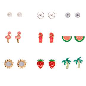 Silver Beach Vibes Stud Earrings - 9 Pack,