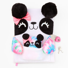 Tie-Dye Panda Plush Lock Diary - White,
