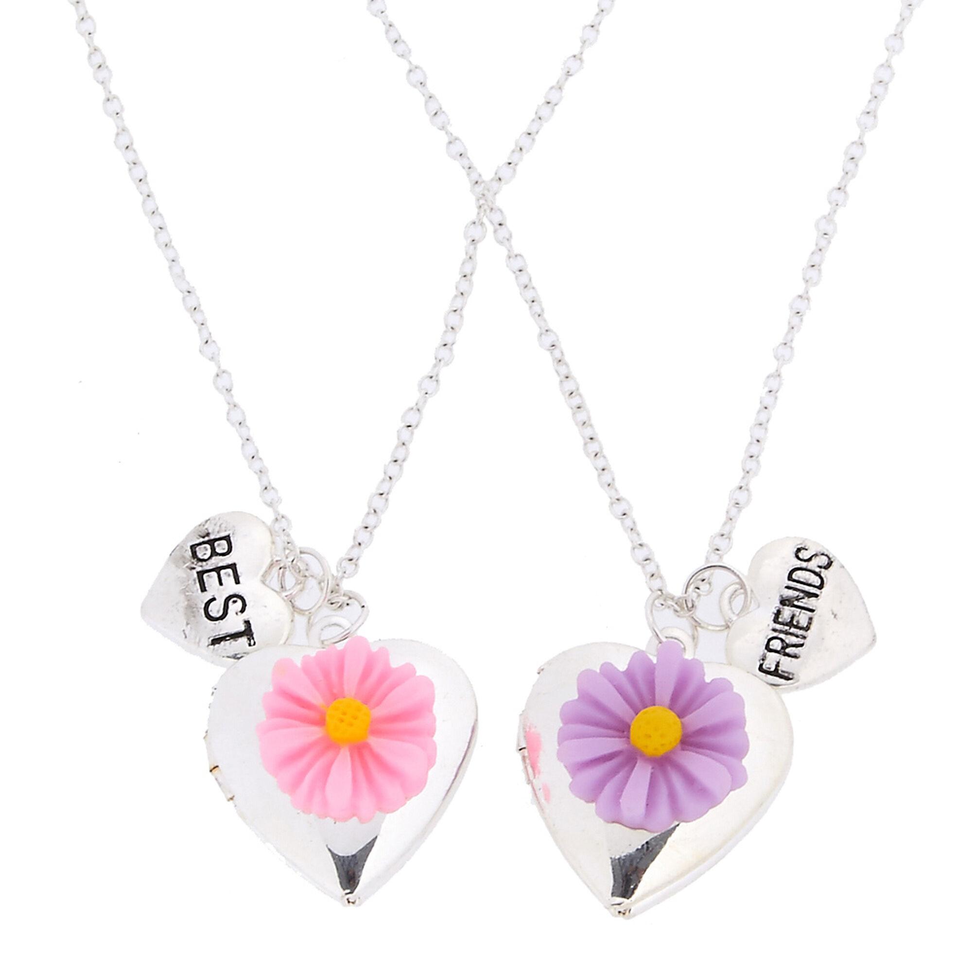 Kids best friends silver heart locket pendants with carved daisies kids best friends silver heart locket pendants with carved daisies necklaces aloadofball Image collections