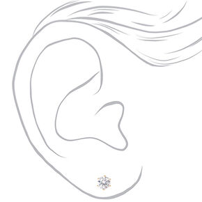 Clous d'oreilles ronds avec strass en zircon cubique d'imitation couleur dorée - 8mm,