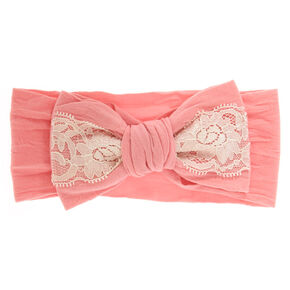 Claire's Club Lace Bow Headwrap - Pink,