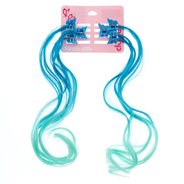 Claire's - club ombre butterfly hair clips- 6 pack, blue - 1