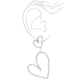 """Silver 2.5"""" Double Heart Drop Earrings,"""