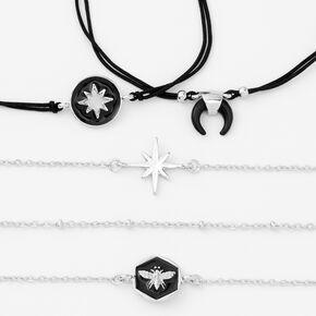 Bracelets en émail noir et chaîne couleur argentée - Lot de 5,