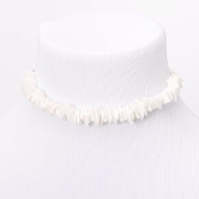 Puka Shell Cord Choker Necklace - White,