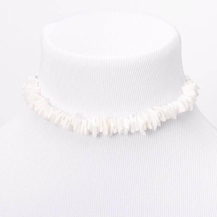 Puka Shell Cord Choker Necklace - White,