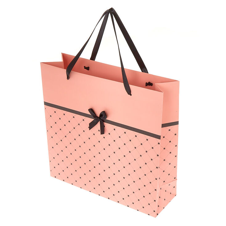 Large Quilted Bow Gift Bag - Pink,