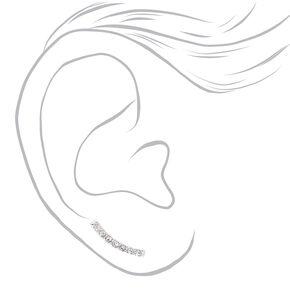 Silver Crystal Curved Bar Crawler Earrings,