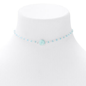 Silver Stone Disc Choker Necklace - Mint,